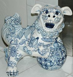Chinese blue and white porcelain foo dog, details unknown.