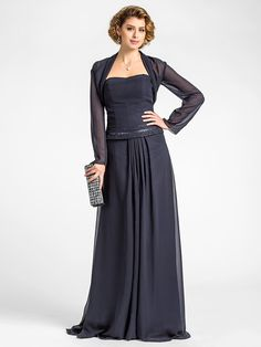 Lanting Bride® A-line Plus Size / Petite Mother of the Bride Dress - Wrap Included Floor-length Long Sleeve Chiffon with Beading / Draping - GBP £81.99 ! HOT Product! A hot product at an incredible low price is now on sale! Come check it out along with other items like this. Get great discounts, earn Rewards and much more each time you shop with us!