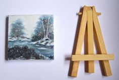 Collectible Mini Winter Blues Painted Canvas With Easel
