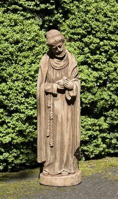 St Francis w/baby bird cast stone statue made by Campania International