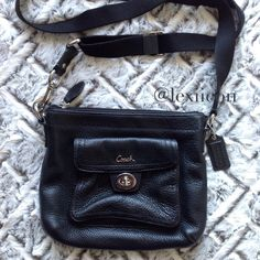 "Coach Black Leather Crossbody Bag Genuine coach crossbody. Adjustable strap. Front pocket with silver clasp. Pebbled genuine leather  ◆If you'd like more pics or have condition questions, I'd gladly post more pics for serious buyers. Items sold as-is. ◆If you'd like to make an offer, please use the ""Offer"" button. NO TRADES Coach Bags Crossbody Bags"