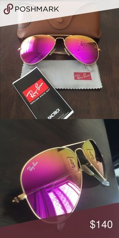 Ray-Ban mirror collection aviator sunglasses Pink gold combination, mirror  lenses, worn a11dadfd44