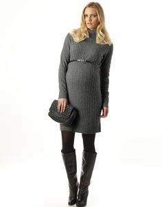 Grey Cashmere Rollneck Maternity Dress    LOVE for winter!