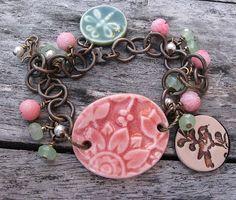 Coral Gardens Bracelet by SilverParrot on Etsy Ceramic Jewelry, Enamel Jewelry, Ceramic Beads, Boho Jewelry, Jewelry Crafts, Beaded Jewelry, Unique Jewelry, Jewelry Ideas, Fashion Bracelets