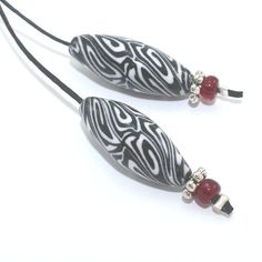 ON SALE Marquise beads polymer clay black and by ShuliDesigns, $4.00