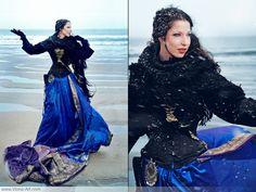 love the way she uses saris.