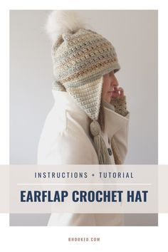 This earflap crochet hat is great for everyday use and perfect for gift giving, especially paired with our matching cowl and wrist warmers.  #BHooked #Crochet #FreeCrochetPattern