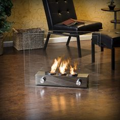 Loft Brushed Nickel Portable Indoor/ Outdoor Fireplace | Overstock.com