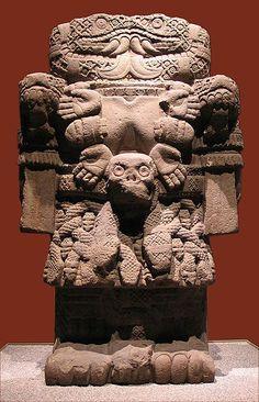 """Coatlicue from Tenochtitlan, Mexico City, Aztec ca. 1487-1520. Andesite, 11' 6"""". Museo Nacional de Antropologia, Mexico City."""