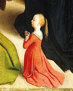 Detail from The Resurrection of Lazarus by Gérard de Saint-Jean - whoa. Not only is this an awesome view of a girl's 15th century get up, but LOOK AT THE VIEW OF THE FOREHEAD LOOP.