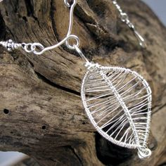 Sterling Silver Artisan Necklace Hill Tribe Wire Wrapped Leaf Pendant | bohowirewrapped - Jewelry on ArtFire