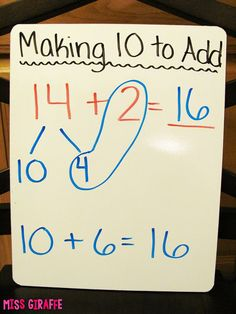 Making a 10 to Add - How To Make A Website - Ideas of How To Make A Website - Easy step by step directions for how to teach making a 10 to add and make it FUN! I cant wait to do this! Mental Math Strategies, Math Resources, Math Activities, Math For Kids, Fun Math, Easy Math, Eureka Math, Third Grade Math, Grade 2