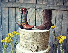 country wedding dress with cowgirl boots | Western-boots-wedding-cake topper-cowboy-cowgirl-bride-groom-boots-hat ...