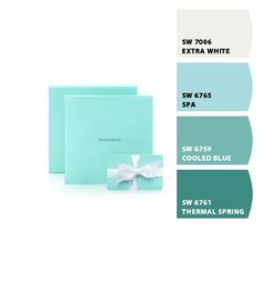 Tiffany colour scheme for guest room. Colour Trends, Colour Schemes, Color Combos, Tiffany Blue Color, Tiffany Green, Office Designs, Home Office Design, Color Of The Year, All The Colors