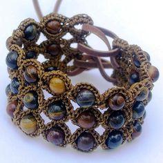 """Crochet Jewelry, Bohemian Bracelet or Cuff, Earthy Brown Colors - """"Tiger Iron"""" Bohemian Bracelets, Bohemian Jewelry, Beaded Jewelry, Jewelry Bracelets, Handmade Jewelry, Jewelry Holder, Indian Jewelry, Bohemian Style, Crochet Bracelet"""