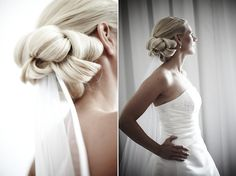 hairstyle of bride - bride looking out window - wedding photo by top Swedish wedding photographers Dayfotografi