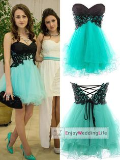 Wholesale Homecoming Dresses - Buy 2015 Homecoming Dresses Mint Tulle Sweetheart Lace Applique Short Mini Empire Cocktail Gowns C156, $92.05 | DHgate