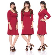 Viva la Mama | Nursing dress MEMPHIS (bordeaux). This breathtaking knee-length breast feeding dress charms everybody with its sweet neckline. MEMPHIS is beautiful but also functional for discreet nursing. It can be varied for different occasions, from elegant to casual.