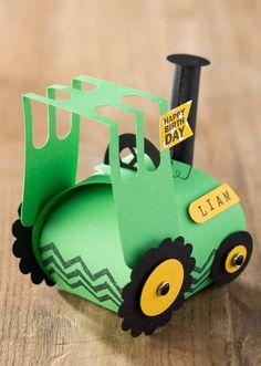 Back view of curvy keepsake box tractor. Several retiring dies used.