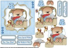 Beary special birthday wishes  on Craftsuprint designed by Carol Smith - a decoupage sheet for the guys has ted snoozing in his chair with his newspaper in one hand a can of I'm sure it must be beer in the other, whilst his faithful little friend is waiting patiently with his lead ready for a walk, how many of us women can relate to this scene eh girls, matching tags say happy birthday, beary special wishes, for you dad, on fathers day and relax and enjoy your day, also a blank tag for the…