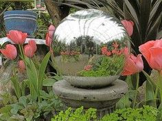 Garden globes are colorful works of art that add interest to your garden. You can create your own garden globes or gazing balls to display among your plants. Read here for more garden gazing ball info. What Is Gardening, Gardening Zones, Organic Gardening, Gardening Blogs, Vegetable Gardening, Mosaic Garden, Garden Art, Garden Ideas, Garden Crafts