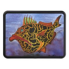 """Mrs. Snorbock"" Watercolor Fish Art Trailer Hitch Cover"