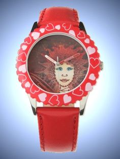 Kid's Red Hearts Bezel Stainless Steel & Red Art Déco Fairy Face Watch