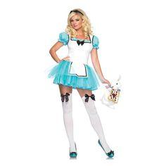 Betoverende Alice kostuum  Tweedelig Alice in Wonderland kostuum met tutu jurk en bijpassende haarband.  Het jurkje is wit met blauw en zwarte accenten. Leuk kostuum om te dragen naar een verkleedfeest.  Het rokje is kort wat een sexy uitstraling geeft!  Exclusief kousen.  Materiaal: 100% polyester.