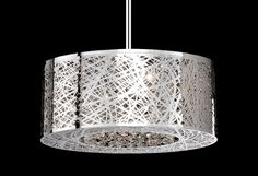 410108 – Eight Lamp Pendant with Laser Cut Stainless Steel and Crystals