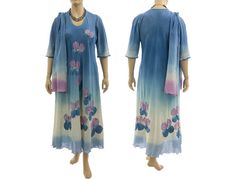 Artistic hand dyed maxi dress with scarf cotton in von classydress