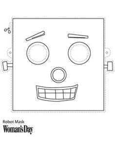Halloween Crafts  Printable Robot Face Mask At WomansDay.com   Womanu0027s Day