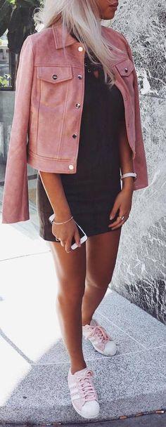 cool summer street style denim jacket + dress