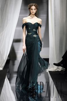 Green sexy chiffon Zuhair Murad evening dress with crystals and off the shoulder neckline Zuhair Murad, Evening Dresses, Prom Dresses, Formal Dresses, Wedding Dresses, Dresses 2013, Dress Prom, Party Dress, Beautiful Gowns