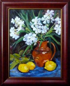 White Oleanders, oil painting. Prints available.