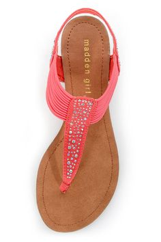 Madden Girl Tanduum Coral Rhinestone Studded Gladiator Sandals - $39.00 will be perfect to go with the white maxi dress!