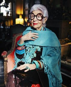 "click link to read this interview.  it had me cracking up.  love iris apfel.  ""I ask if she is ever tempted to say something to someone who she thinks looks dreadful. 'Oh, now that would be horrible. It's a free country - if you want to look like a freak, that's your problem.'"""