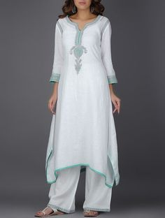 Ivory Embroidered Asymmetrical Linen Kurta with Sequins Indian Fashion, Boho Fashion, Fashion Dresses, Fashion Women, Indian Dresses, Indian Outfits, Embroidery Online, Kurta Neck Design, Kurta Designs Women