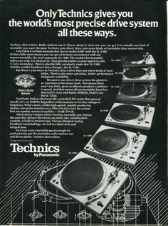 1976 PANASONIC TECHNICS Direct Drive DJ Turntables Retro Vintage Original Ad