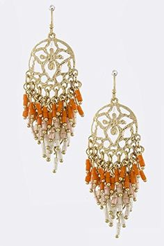 TRENDY FASHION JEWELRY ROUND MOTIF BEAD FRINGE EARRINGS BY FASHION DESTINATION  Orange *** Learn more by visiting the image link. Note:It is Affiliate Link to Amazon.