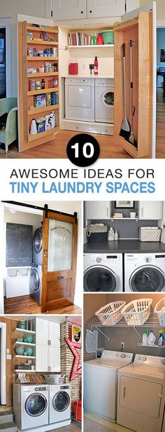 10 Awesome Ideas for Tiny Laundry Spaces • Lots of Ideas and Tutorials to organize a small laundry room! #SmallLaundryRoom #LaundryRoomOrganization #HowtoOrganizeLaundryRoom #OrganizingIdeas #HomeOrganizing
