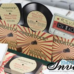 vintage record wedding invitations  (3)