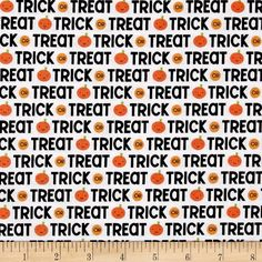 Riley Blake Ghouls & Goodies Trick or Treat White from @fabricdotcom  From Doodlebug Designs for Riley Blake Designs, this cotton print collection is perfect for cutsey Halloween quilts, apparel, and home decor accents. Colors include black, white, shades of orange, and accents of green.