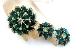 Green Rhinestone Set Brooch And Earrings by TheJewelryLadysStore