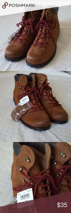 Nwt american eagle womens brown boots size 12 has some rough patch in front on the boots American Eagle By Payless Shoes Combat & Moto Boots
