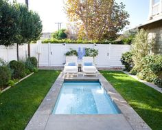 Contemporary rectangular backyard landscaping ideas for small pool areas