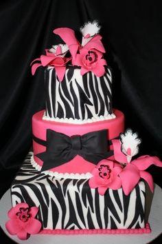 zebra cake By bethygee on CakeCentral.com
