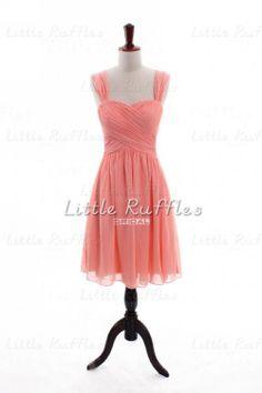 Coral Bridesmaid Dress Chiffon Homecoming Dress Evening Dress Cocktail Dress Bridal Party Dress,Short Bridesmaid Dress w/Straps(BB679) on Etsy, $86.99