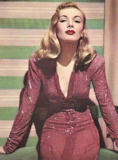 """Vintage Hairstyles Veronica Lake in """"I Wanted Wings"""" vintage fashion icon movie star red beaded dress sequins showgirl starlet evening gown long sleeves - Look Vintage, Vintage Beauty, Vintage Makeup, Timeless Beauty, Classic Beauty, Vintage Hollywood, Classic Hollywood, Hollywood Fashion, Old Hollywood Glamour Dresses"""