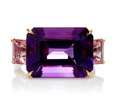 Paolo Costagli - One Of A Kind Florentine Amethyst Ring - 18K White Gold, 18K Yellow Gold, Diamonds 0.13ct, Amethyst 10.00cts, Spinels 1.97cts.