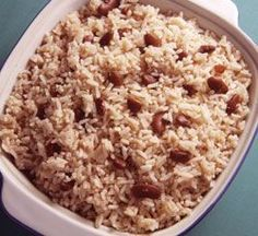 Real Jamaican Food: Rice and Peas (Red Kidney Beans). Also, has a link for a great Jerk Chicken recipe!!!